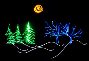 A light drawing of a winter landscape and a full moon